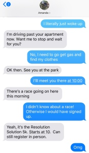 Text message showing that there is a race happening and asking if I want to skip running